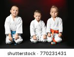 little children in karategi on... | Shutterstock . vector #770231431