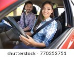 young woman passing driving... | Shutterstock . vector #770253751
