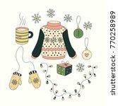 christmas set with cartoon... | Shutterstock .eps vector #770258989