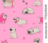 Stock vector seamless pattern with cute cartoon pug 770259049