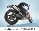 biker in black jacket and... | Shutterstock . vector #770262331