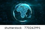 digital globe made of plexus... | Shutterstock . vector #770262991