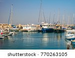 fishing boats at old jaffo port ... | Shutterstock . vector #770263105