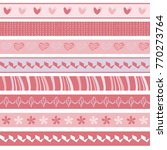 set of cute pink seamless... | Shutterstock .eps vector #770273764