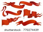 red flags and ribbons. vintage... | Shutterstock .eps vector #770274439