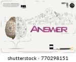 brain   pencil sketch   icon... | Shutterstock .eps vector #770298151