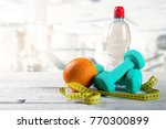 healthy lifestyle fitness items ... | Shutterstock . vector #770300899
