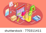 isometric concept of online... | Shutterstock .eps vector #770311411