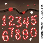 christmas candy cane numbers.... | Shutterstock .eps vector #770328145