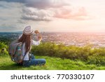 traveler woman with backpack... | Shutterstock . vector #770330107