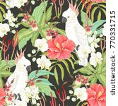 seamless pattern with flowers... | Shutterstock .eps vector #770331715