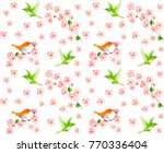 sakura seamless pattern with... | Shutterstock .eps vector #770336404