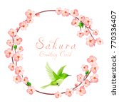 sakura frame with japanese bird. | Shutterstock .eps vector #770336407