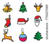 christmas object 9 icons set ... | Shutterstock .eps vector #770337085