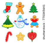 colored toys of winter on white ... | Shutterstock .eps vector #770345641