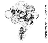 astronaut spaceman. planets in... | Shutterstock .eps vector #770345725