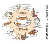 coffee toppings. vector... | Shutterstock .eps vector #770365429