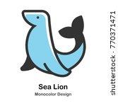 sea lion mono color vector... | Shutterstock .eps vector #770371471