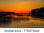 sunset river landscape | Shutterstock . vector #770372665