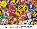 many american traffic signs... | Shutterstock . vector #77038027