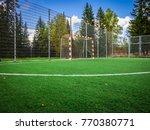 soccer field with green grass... | Shutterstock . vector #770380771