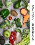 assortment of alkaline food on...   Shutterstock . vector #770387401