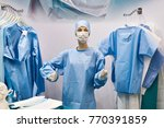 mannequin in surgical gown in