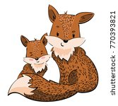 cartoon family of foxes. a... | Shutterstock .eps vector #770393821