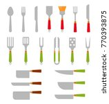 stainless steel bbq grill tools ... | Shutterstock . vector #770393875