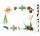 christmas frame made of gift ... | Shutterstock . vector #770403841