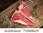 raw t bone steak of beef on the ...   Shutterstock . vector #770408029