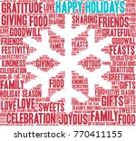 happy holidays word cloud on a... | Shutterstock .eps vector #770411155