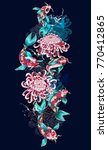 print with koi fish and flowers.... | Shutterstock .eps vector #770412865