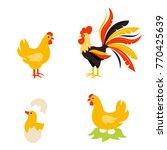cute cartoon hen rooster and... | Shutterstock . vector #770425639
