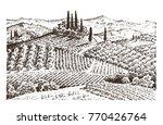 rustic vineyard. rural... | Shutterstock .eps vector #770426764
