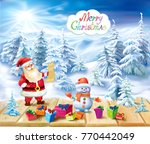 santa claus and snowman with... | Shutterstock .eps vector #770442049