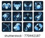 set of zodiac signs in blue...   Shutterstock .eps vector #770442187