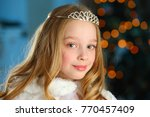 beautiful blonde child girl in... | Shutterstock . vector #770457409
