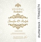 wedding card with detailed... | Shutterstock .eps vector #770463274