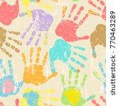 prints of hands  seamless... | Shutterstock .eps vector #770463289