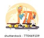 girl skateboarder sit on... | Shutterstock .eps vector #770469109