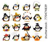 set of cute little penguins on... | Shutterstock .eps vector #770474839