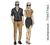 vector woman and man models | Shutterstock .eps vector #770477461