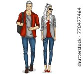 vector woman and man models | Shutterstock .eps vector #770477464