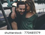 loving young couple hugging ... | Shutterstock . vector #770485579