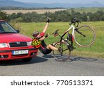 accident cars with biker. car... | Shutterstock . vector #770513371