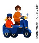 couple riding scooter with... | Shutterstock .eps vector #770517139