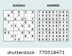 vector sudoku with answer 110.... | Shutterstock .eps vector #770518471