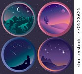 set with four  flat night... | Shutterstock .eps vector #770523625