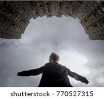 dramatic low angle portrait... | Shutterstock . vector #770527315